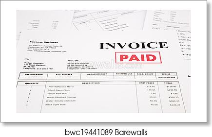 Art Print Of Invoice And Bills With Paid Stamp Barewalls Posters - Invoice stamp