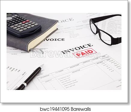 art print of invoice and bills with paid stamp barewalls posters