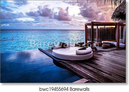 Luxury Beach Resort Art Print Poster