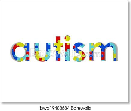 Art Print Of Autism Word Puzzle Piece Background Symbol Hope Research