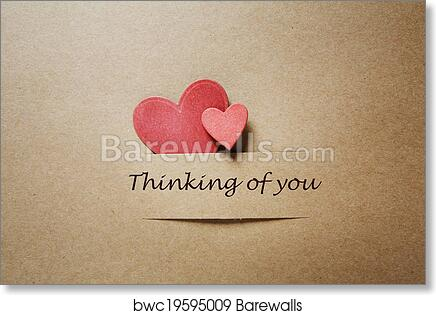 Art Print Of Thinking Of You Message With Red Paper Hearts