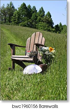 Exceptionnel Art Print Of Adirondack Chair With Flowers