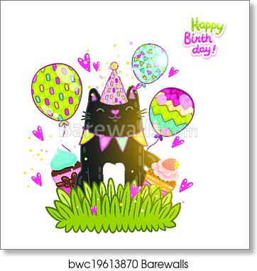 Happy Birthday Card Background With A Dog Art Print Poster