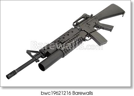 Art Print Of An M16a4 Rifle Equipped With An M203 Grenade Launcher