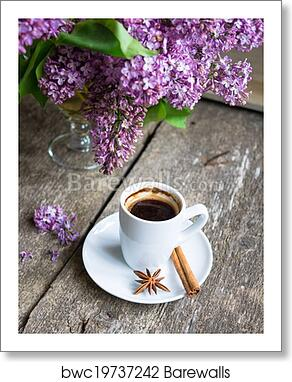 Lilac Flowers And Coffee Art Print Barewalls Posters Prints Bwc19737242