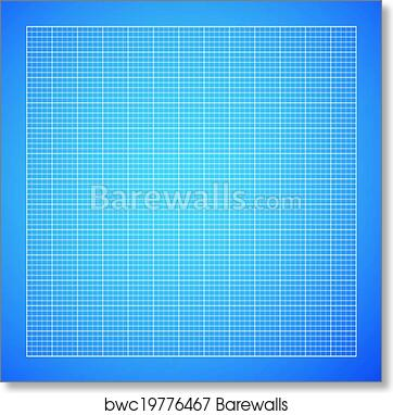 Art print of blueprint background barewalls posters prints vector blueprint background white grid on blue paper malvernweather Choice Image