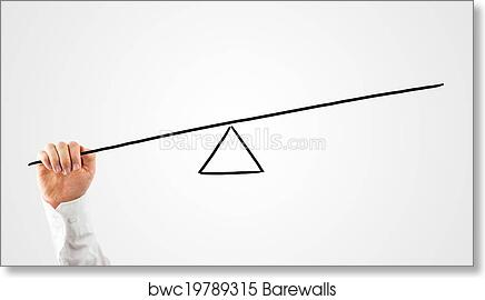 Art Print Of Man Constructing A Seesaw With A Rod And Triangle