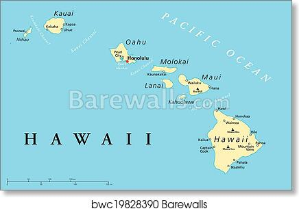 graphic about Maui Map Printable named Hawaii Islands Political Map artwork print poster