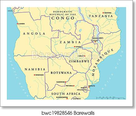 South Central Africa Political Map Art Print Barewalls Posters