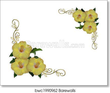 Hibiscus Flowers Border Design Art Print Barewalls Posters