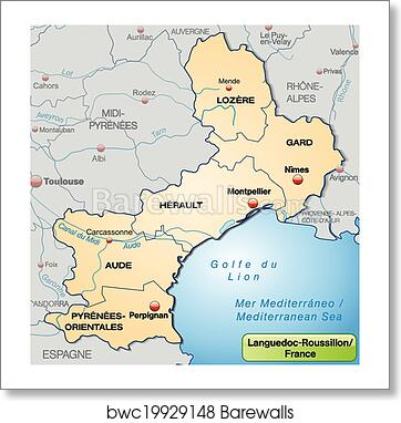 Roussillon France Map.Art Print Of Map Of Languedoc Roussillon Barewalls Posters