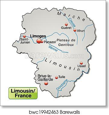 Brive France Map.Map Of Limousin Art Print Barewalls Posters Prints Bwc19942463