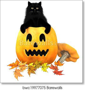 Art Print Of Black Cat Halloween Autumn Leaves Barewalls Posters
