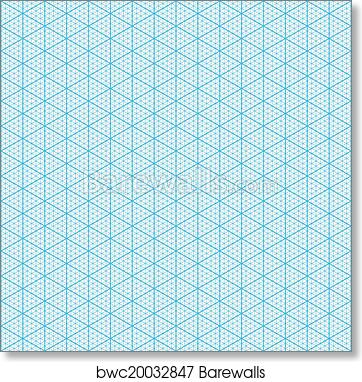 image regarding Printable Isometric Paper titled Isometric graph paper artwork print poster