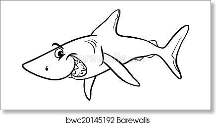 Art Print of Shark animal cartoon coloring book   Barewalls Posters ...