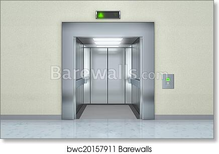 Art Print of Modern elevator with opened doors  sc 1 st  Barewalls & Art Print of Modern elevator with opened doors | Barewalls Posters ...