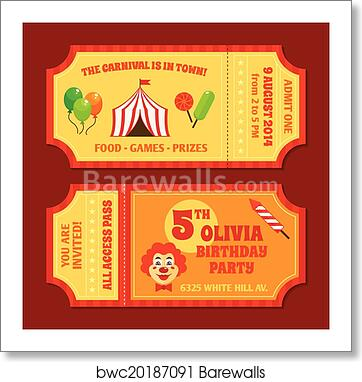 Art Print Of Circus Tickets Template