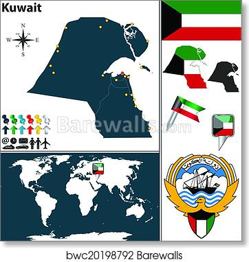 Map of Kuwait art print poster