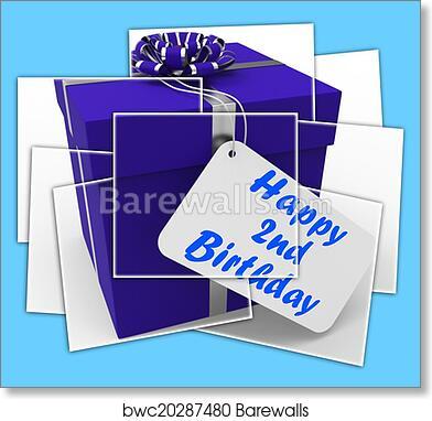 Art Print Of Happy 2nd Birthday Gift Displays Celebrating Turning