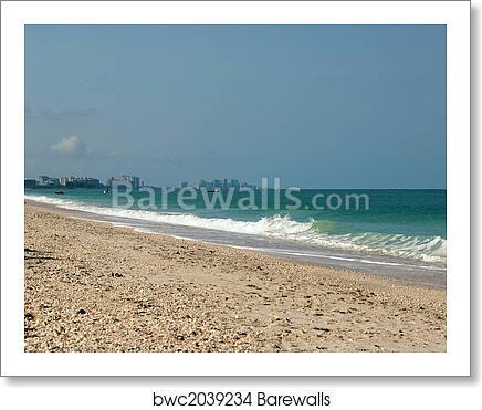 Art Print Of Bonita Beach Seascape With Naples Florida In The Distance