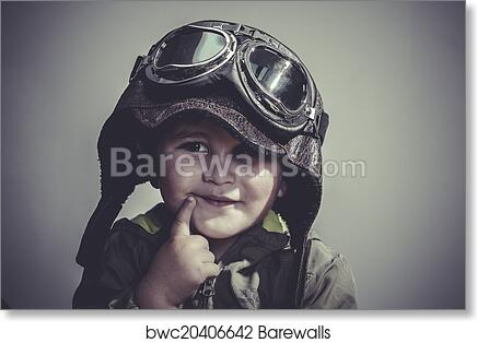 art print of concept fun and funny child dressed in aviator hat and