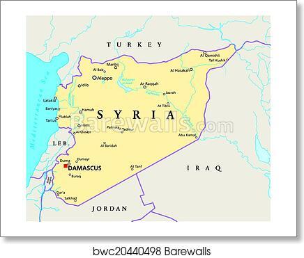 Jordan Political Map.Art Print Of Syria Political Map Barewalls Posters Prints