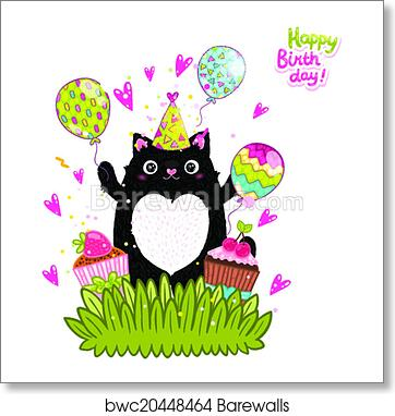 Happy Birthday Card Background With A Cat Art Print Poster