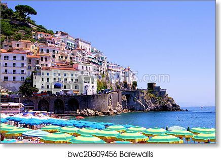 Amalfi Coast Beaches Art Print Poster