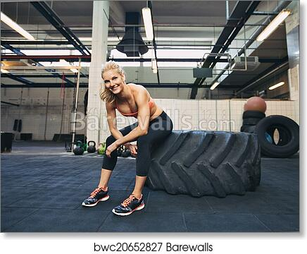 Art Print Of Female Athlete Taking Rest After Tough Crossfit Workout