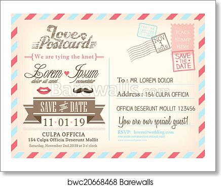 Vintage Airmail Postcard Background Vector Template For Wedding Invitation Card Art Print