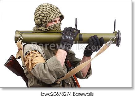 Mercenary with anti-tank rocket launcher - RPG art print poster