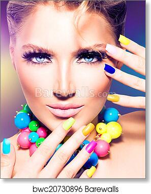 Fashion beauty model girl with colorful nails, Art Print | Barewalls ...