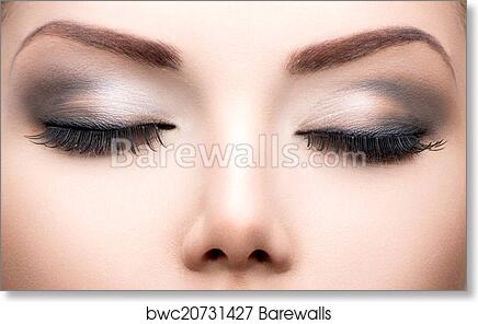 562122801d8 Beauty eyes makeup closeup. Long eyelashes, perfect skin, Art Print ...