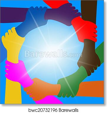 Holding Hands Indicates Unity Friends And Togetherness art print poster