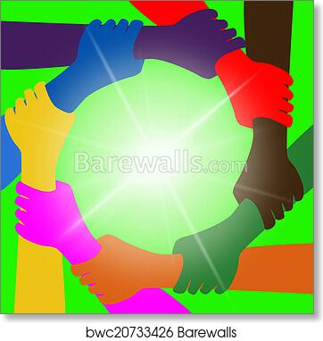 art print of holding hands means globalization unity and globally