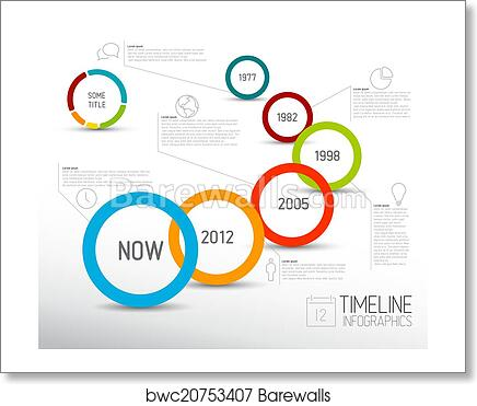 Infographic Light Timeline Report Template With Circles Art Print