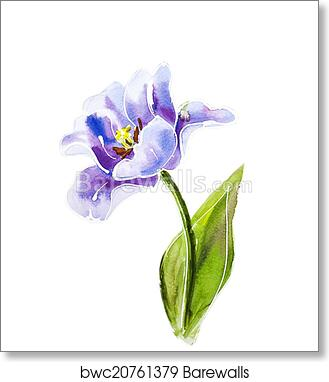 Flower Violet Iris Watercolour Unframed Wall Art Print Poster Home Decor