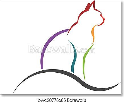 Cat Color Styled Silhouette Image Art Print Barewalls Posters Prints Bwc20778685