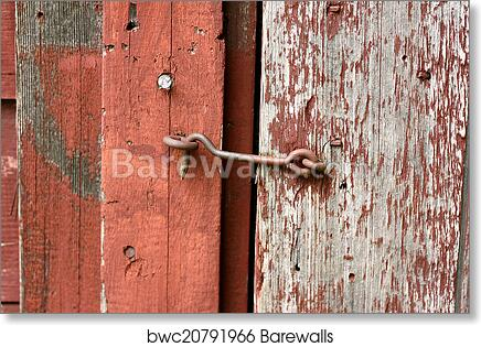 Art Print Of Cast Iron Hook And Eye Lock On Old Barn Door