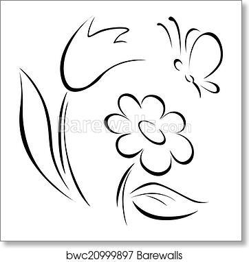 Art print of spring flower outline barewalls posters prints art print of spring flower outline mightylinksfo