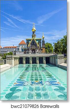 Darmstadt Swimming Pool print of orthodox chappel darmstadt blue sky