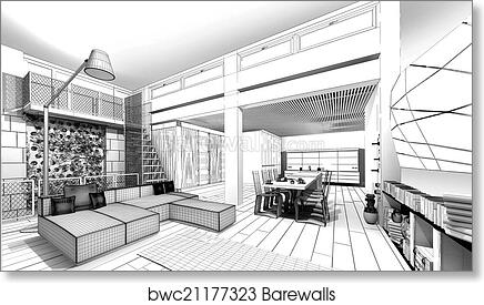 Art Print Of Wireframe Apartment 3D Model