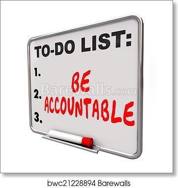 art print of be accountable to do list take responsibility blame