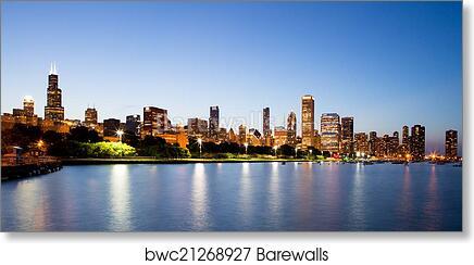 Chicago Wall Art chicago skyline at dusk art print/canvas print home decor wall art