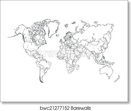 World Map Outline Illustration art print poster