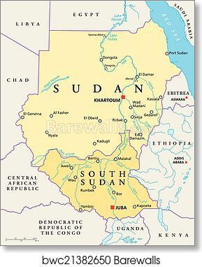 Art Print of Sudan and South Sudan Political Map Barewalls Posters