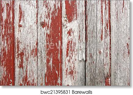 Art Print Of Red Rustic Barn Wood Background