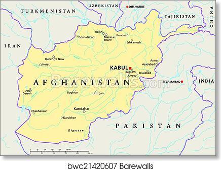 Art Print Of Afghanistan Political Map Barewalls Posters Prints