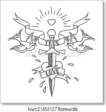 98a949118 Old school tattoos pattern, Art Print | Barewalls Posters & Prints ...