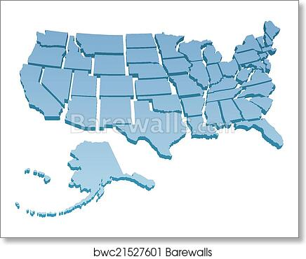 US Map separate United States art print poster